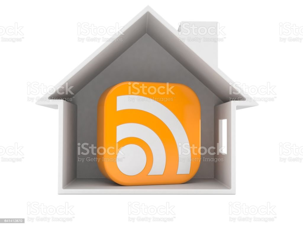 House cross section with rss symbol stock photo