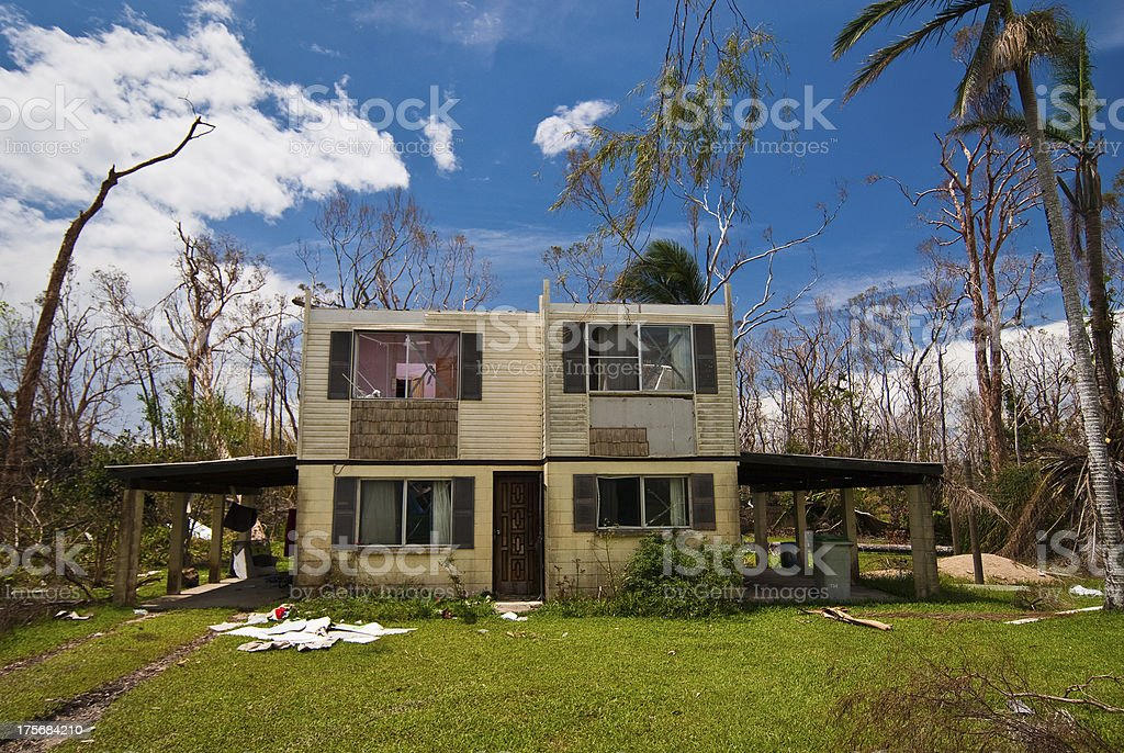 House damaged by tropical cyclone in Australia stock photo