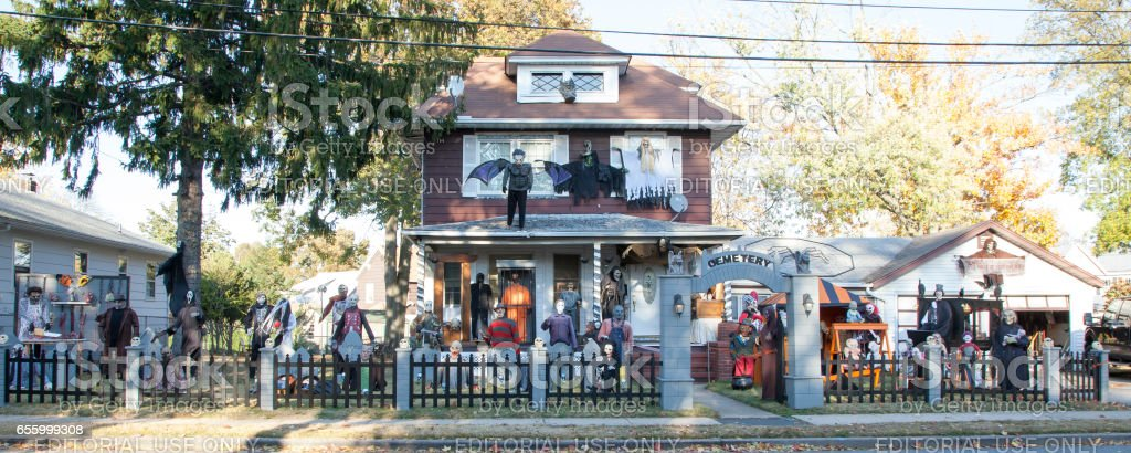 House Decorated for Halloween stock photo
