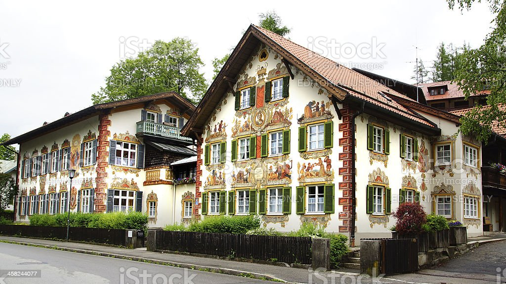 House decorated with frescoes. Oberammergau stock photo