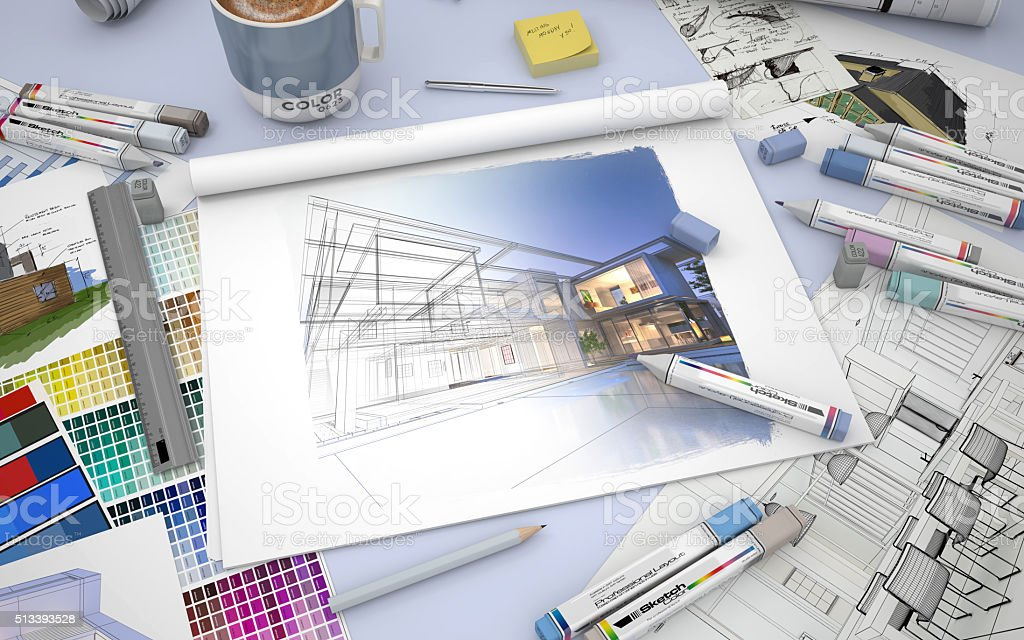 House design modifications stock photo