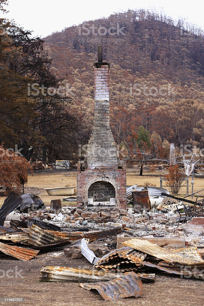 House destroyed by catastrophic bushfire royalty-free stock photo