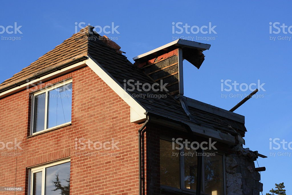 house disaster stock photo
