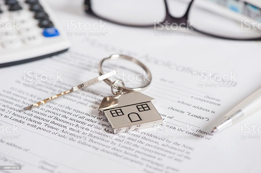 House document with keys and pen stock photo