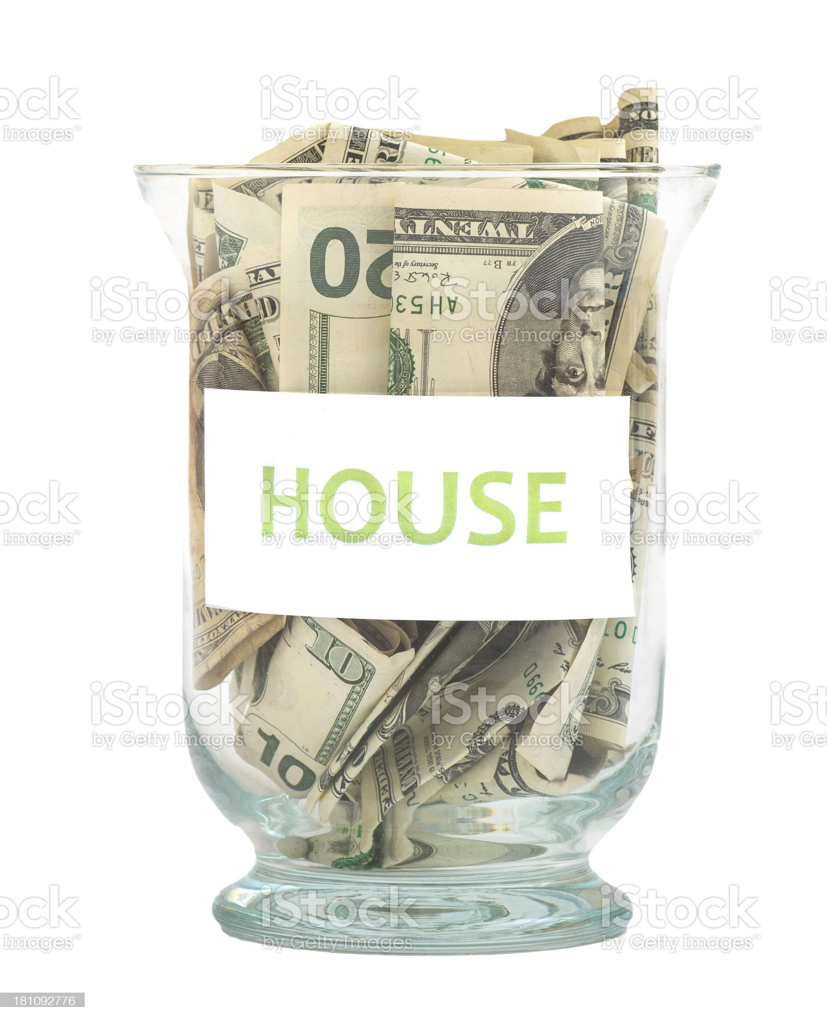house Dollar Savings in glass royalty-free stock photo