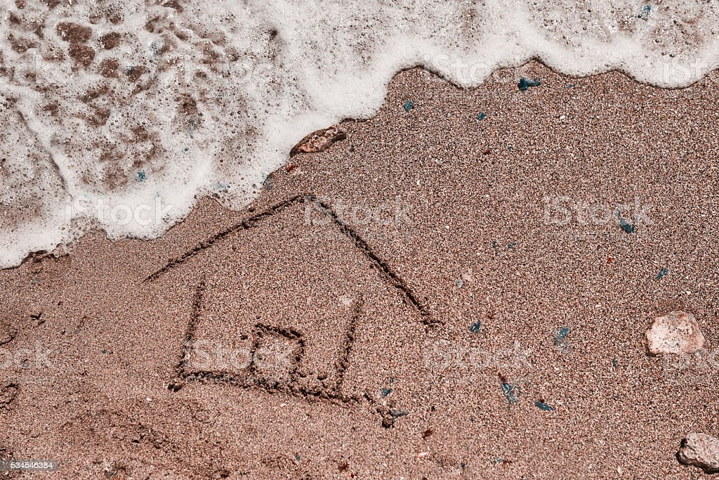 house draw and wave over it stock photo