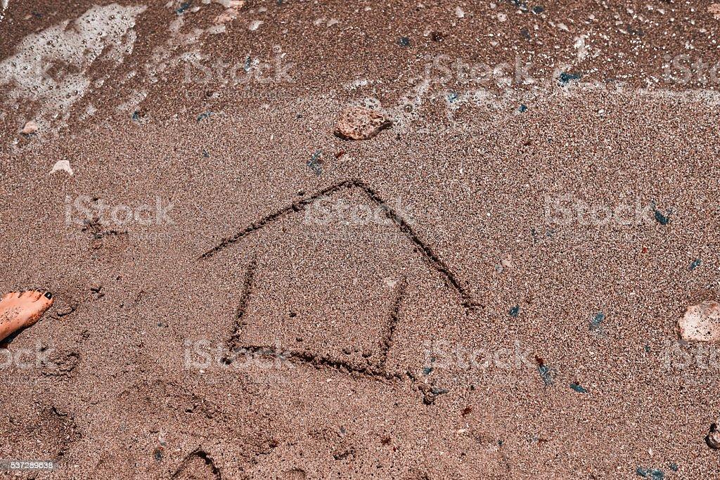 house draw on the beach stock photo