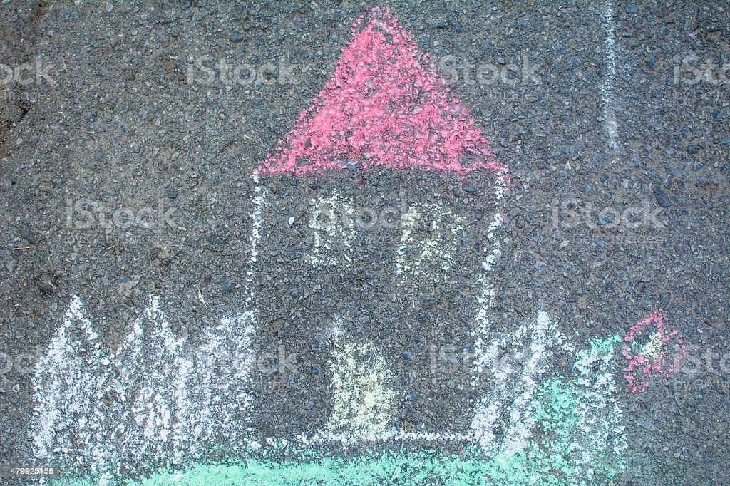 House draw with color chalk vector art illustration