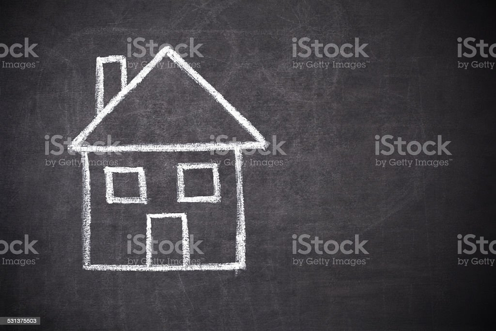 house drawing on blackboard stock photo