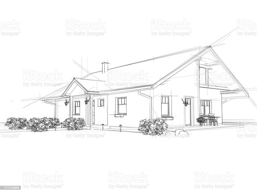 House drawing stock photo