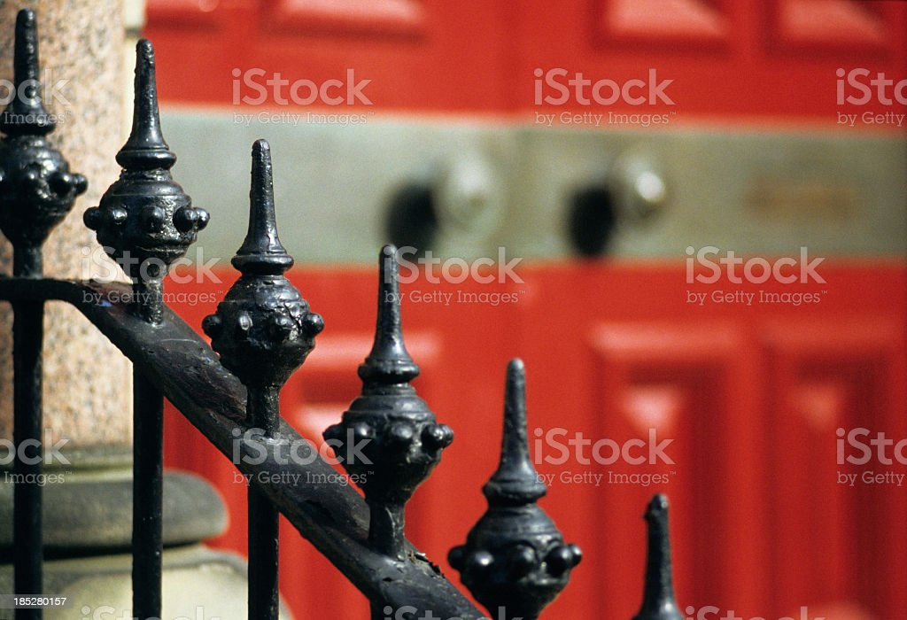 House entrance gate - Elegant front door in English style stock photo