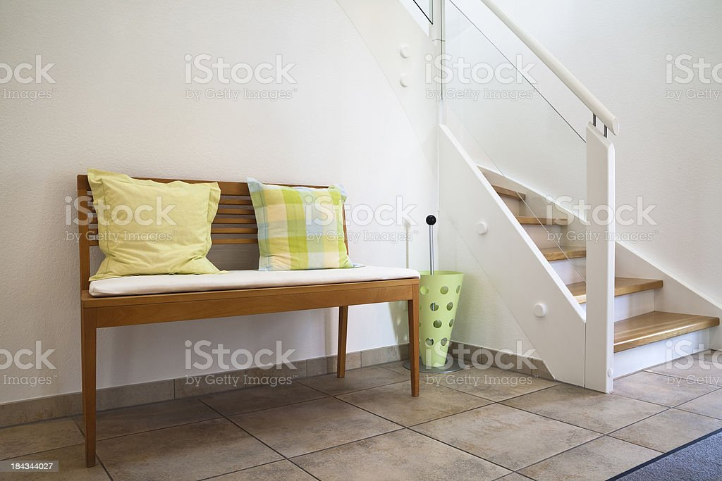 House Entrance Hall with Bench stock photo