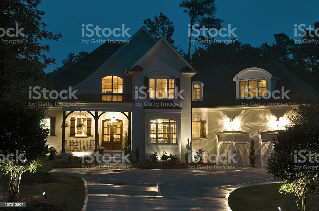 House Exterior At Night stock photo