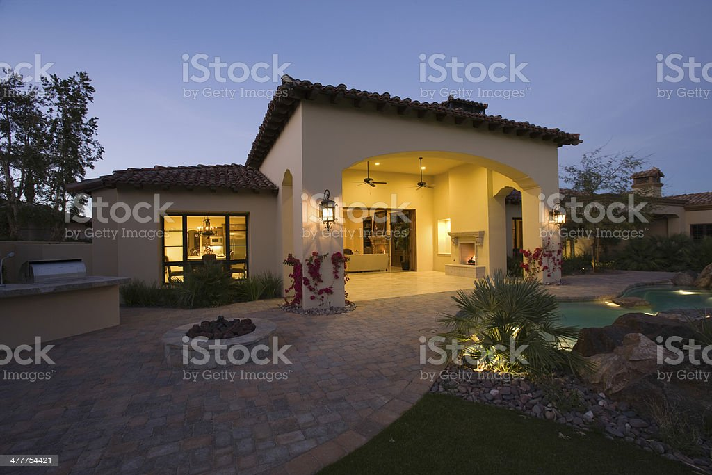 House Exterior At Twilight stock photo