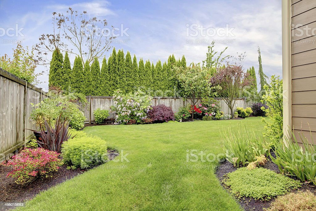 House exterior with landscape stock photo