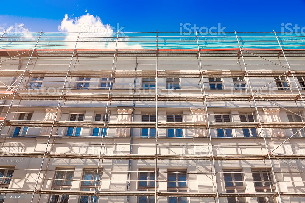 house exterior with scaffold stock photo