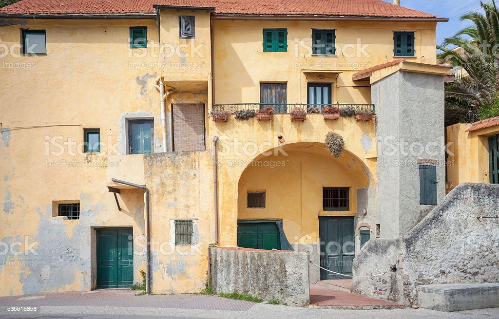 House Facade In Medieval Village stock photo