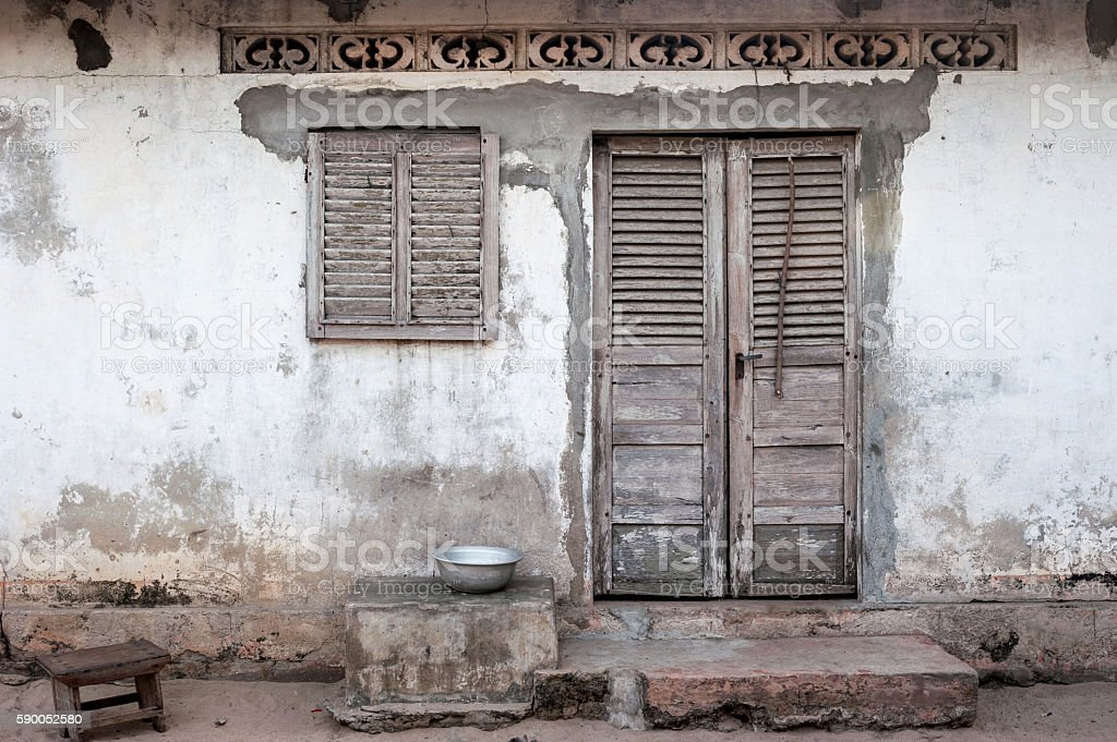 House facade on a village near Grand Popo, Benin stock photo