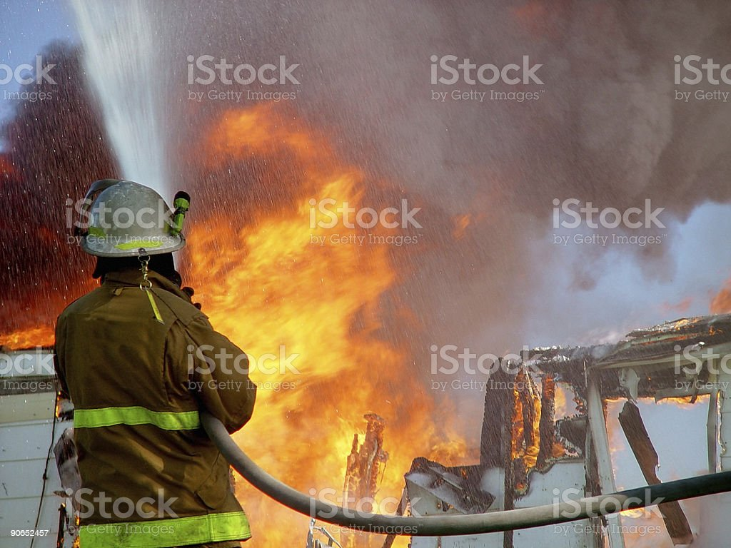 House Fire & Fireman royalty-free stock photo