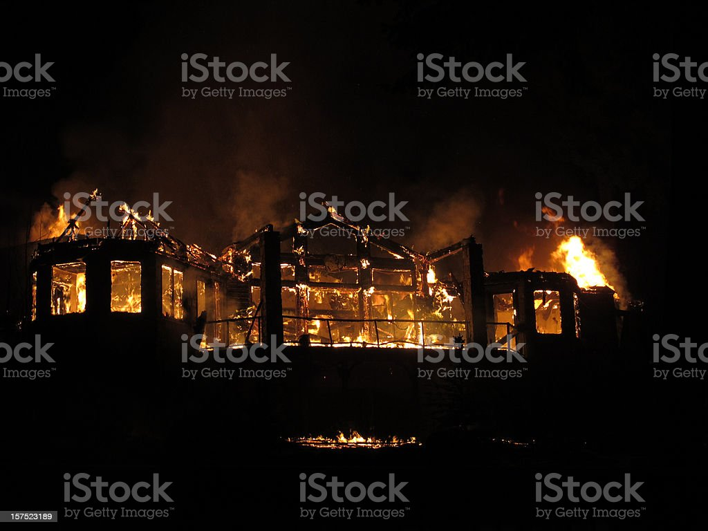House fire for a second story house stock photo