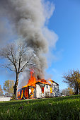 House fire in controlled burn