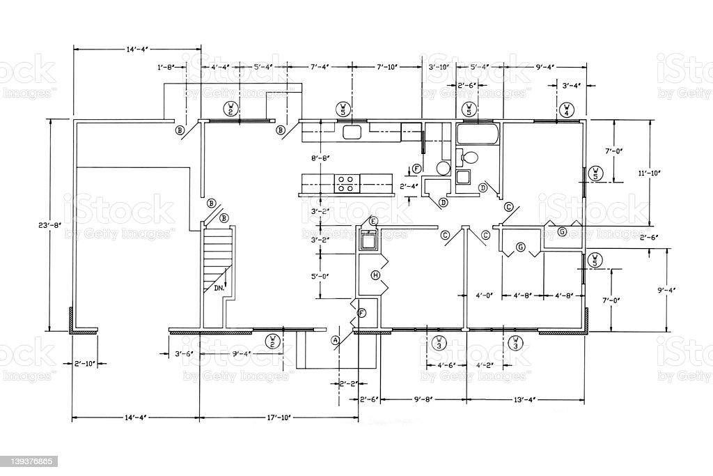 House Floorplan Blueprints stock photo