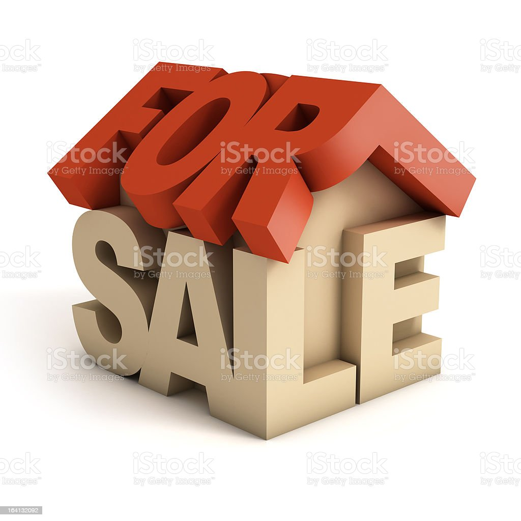 house for sale 3d icon royalty-free stock photo