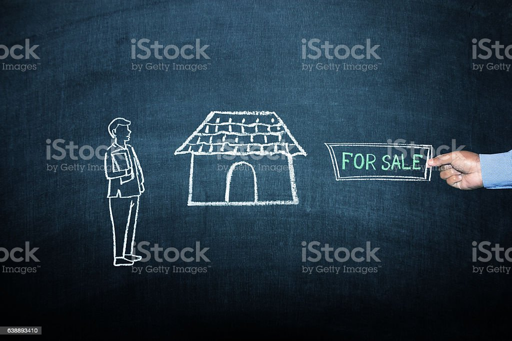 House for sale concept on blackboard stock photo