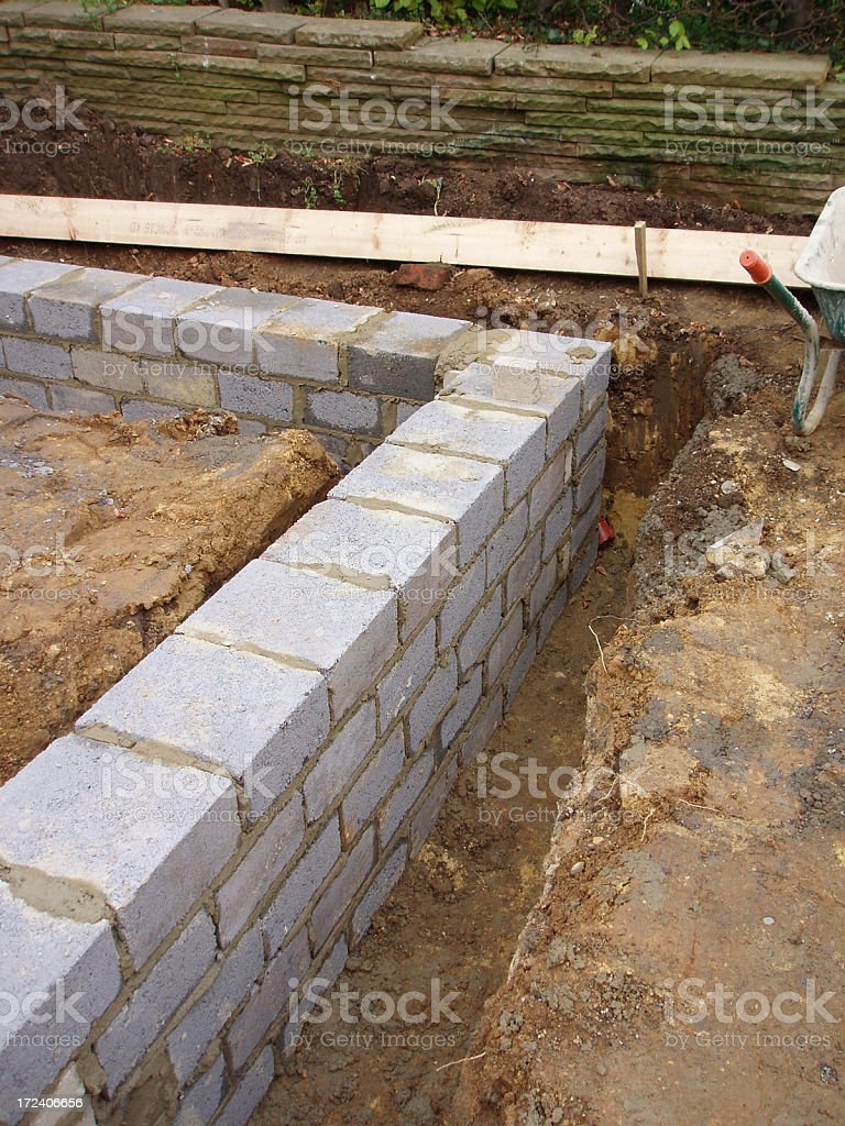 house foundations cement and blocks stock photo