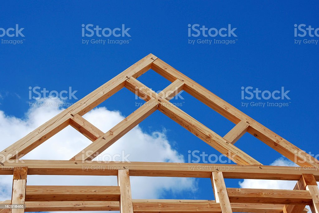 House frame foundation made of timber stock photo