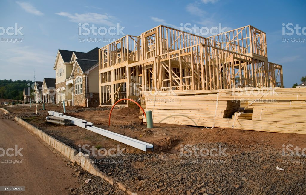 House frame in a new neighborhood royalty-free stock photo