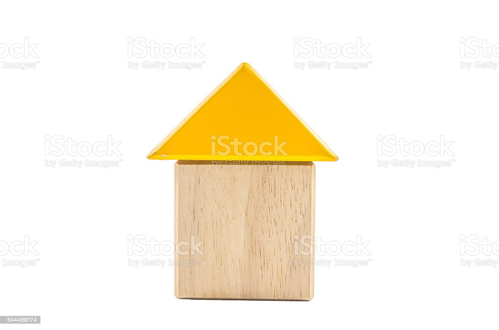 house from color wooden blocks stock photo
