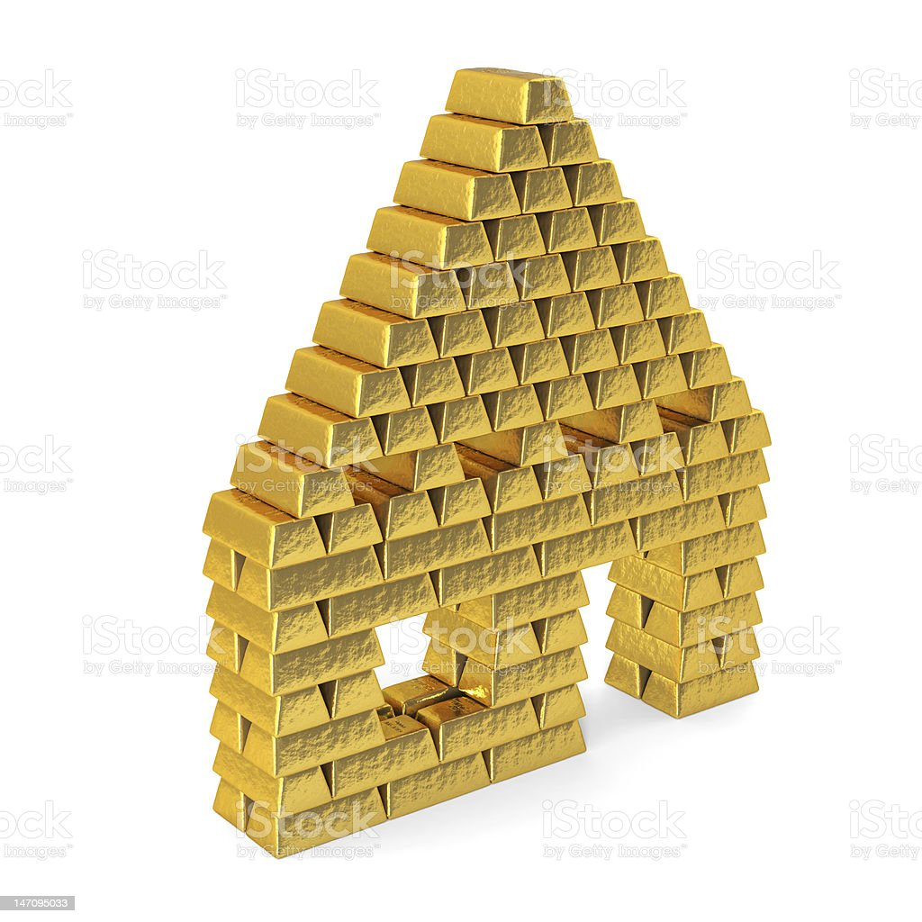 House from gold bars, perspective. royalty-free stock vector art