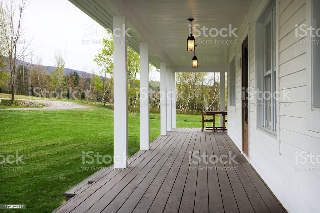 House front porch and grassy yard stock photo