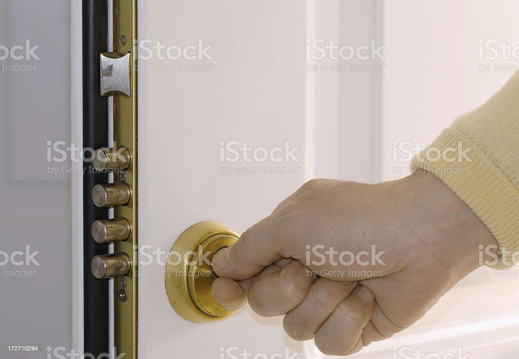 House frontdoor unlocked stock photo