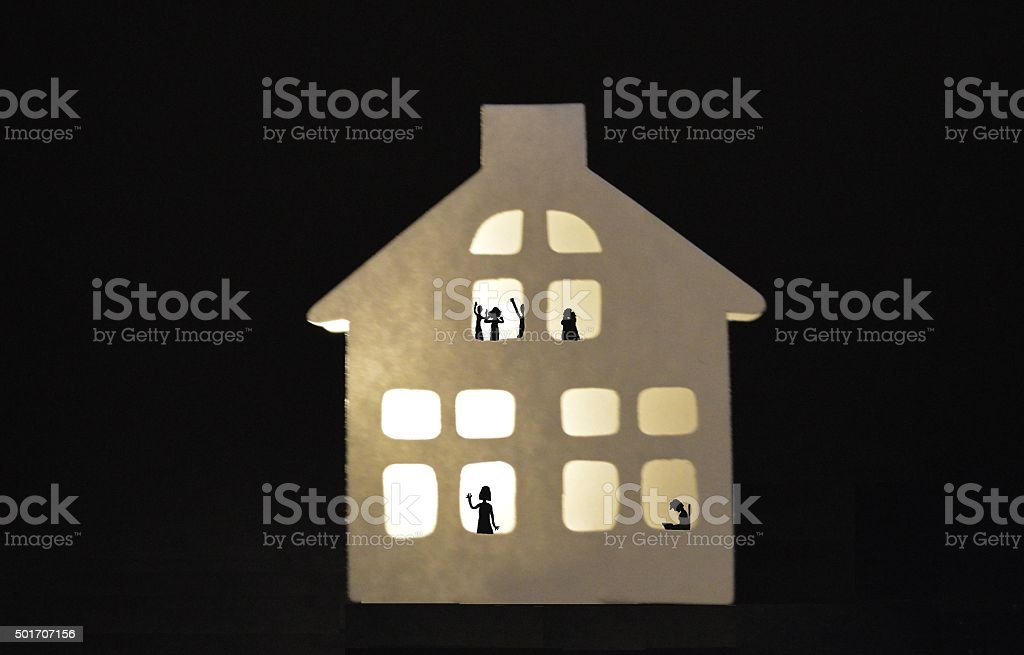 House full of people stock photo
