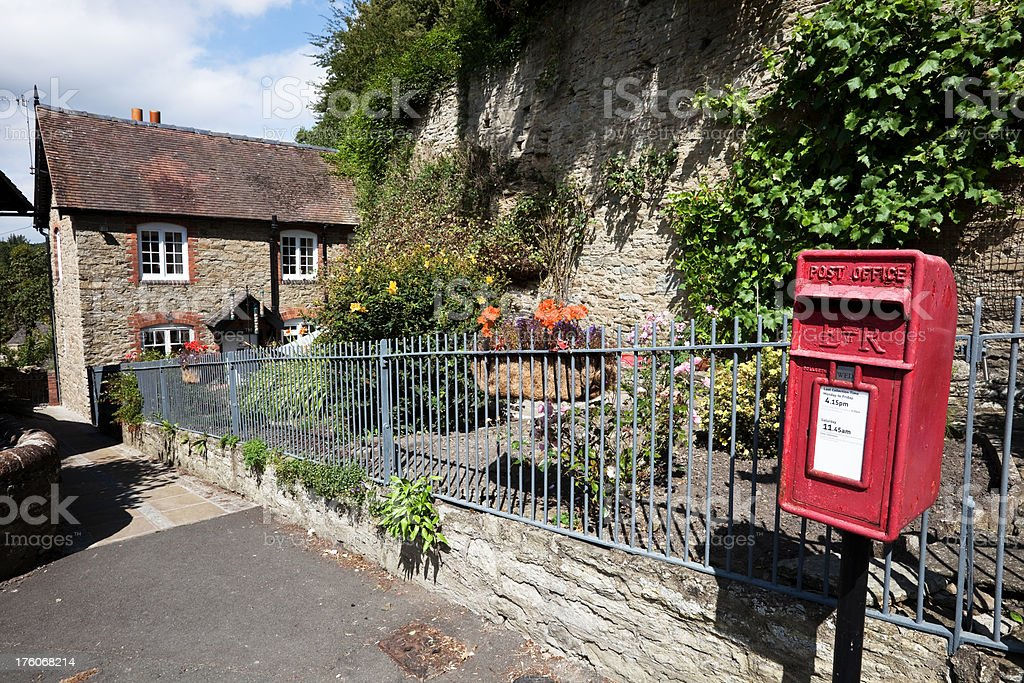 House Garden and Postbox in Ludlow stock photo