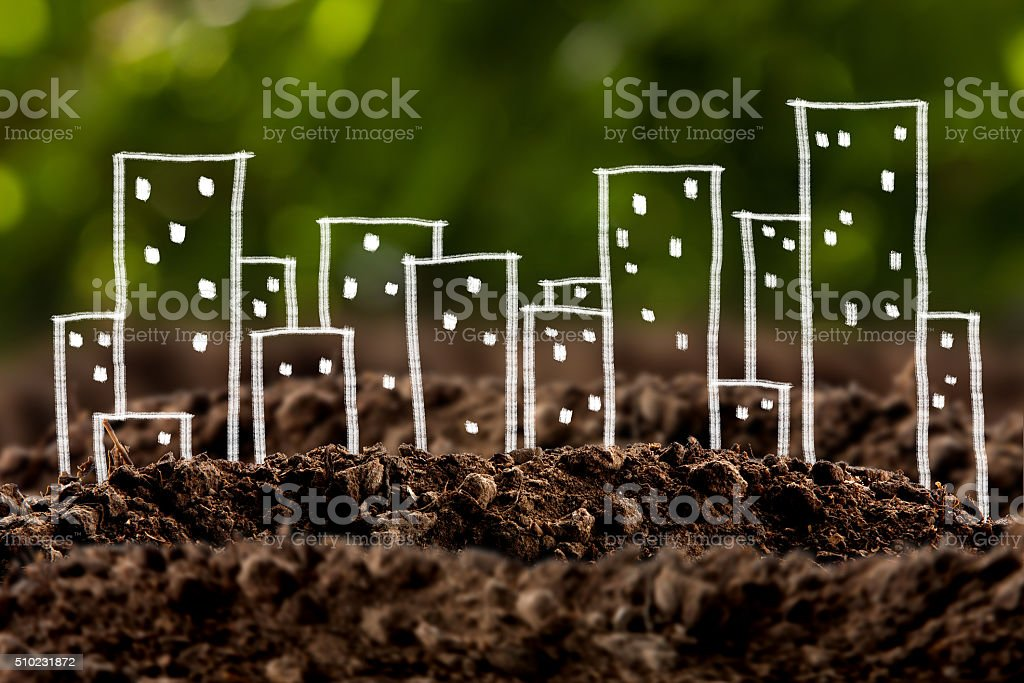 house growing in soil stock photo