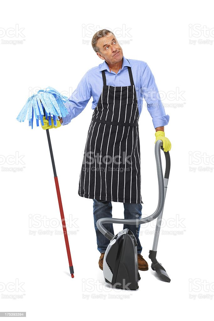 House husband with dust buster on white stock photo