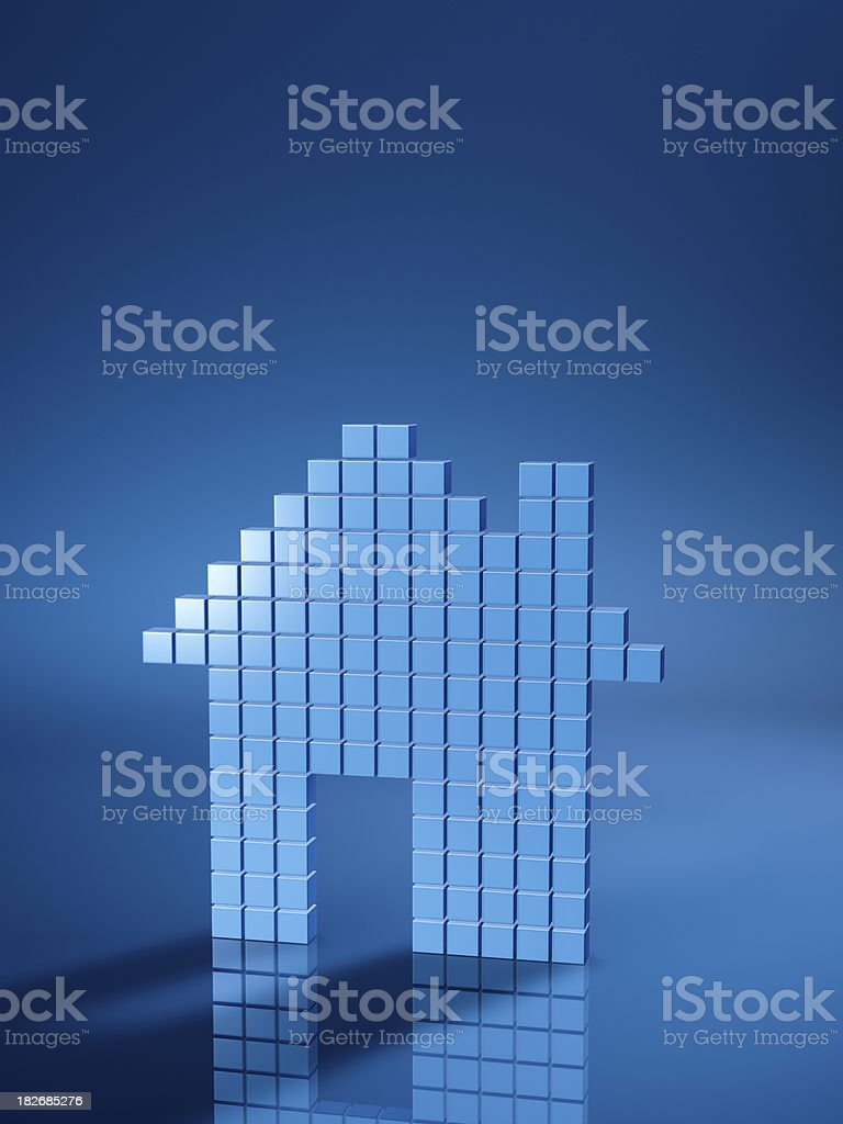House Icon Blue Cubes Vertical stock photo