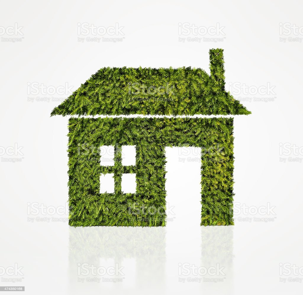 House icon made of green tree stock photo
