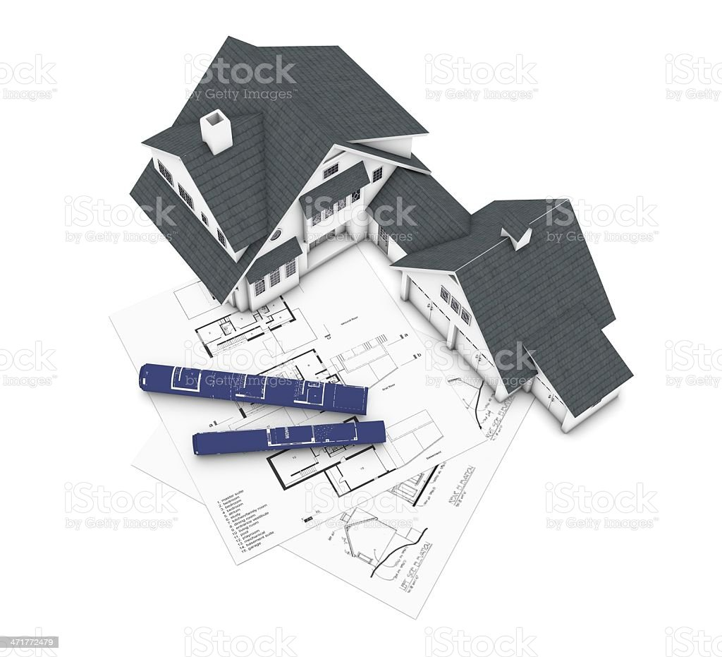 House in 3D Plans and blueprints royalty-free stock photo