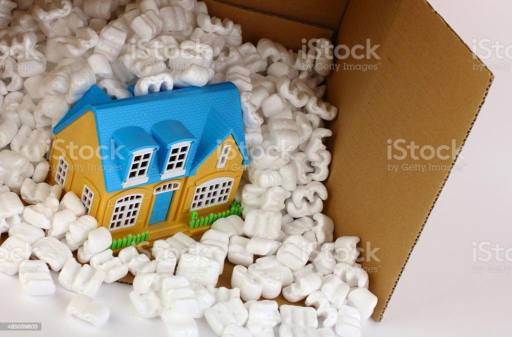 House in a Cardboard Box stock photo