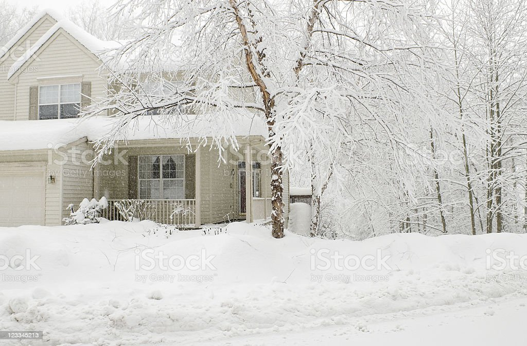 House in a Snowstorm royalty-free stock photo