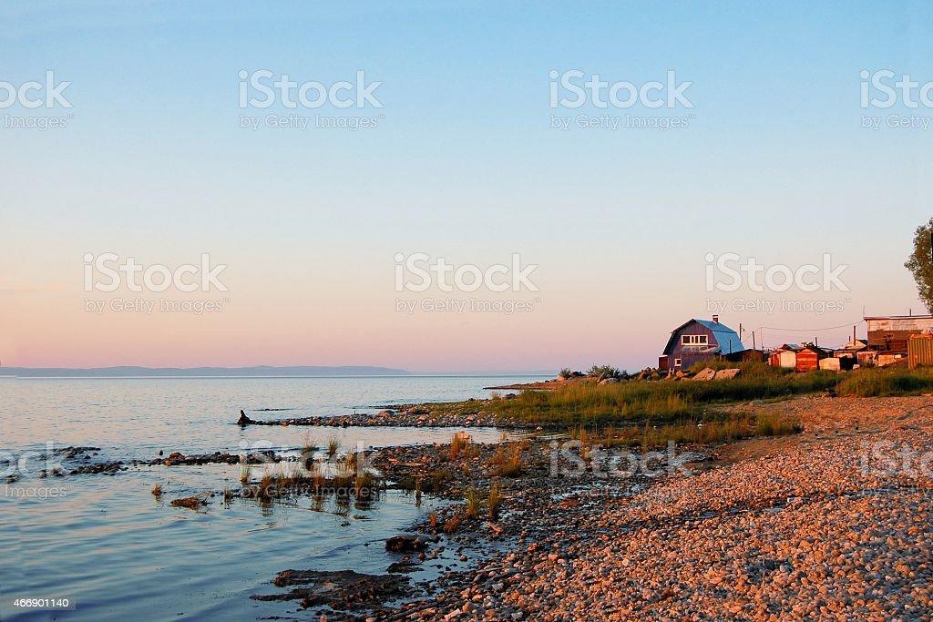 House in a village at Lake Baikal, Siberia, Russia stock photo