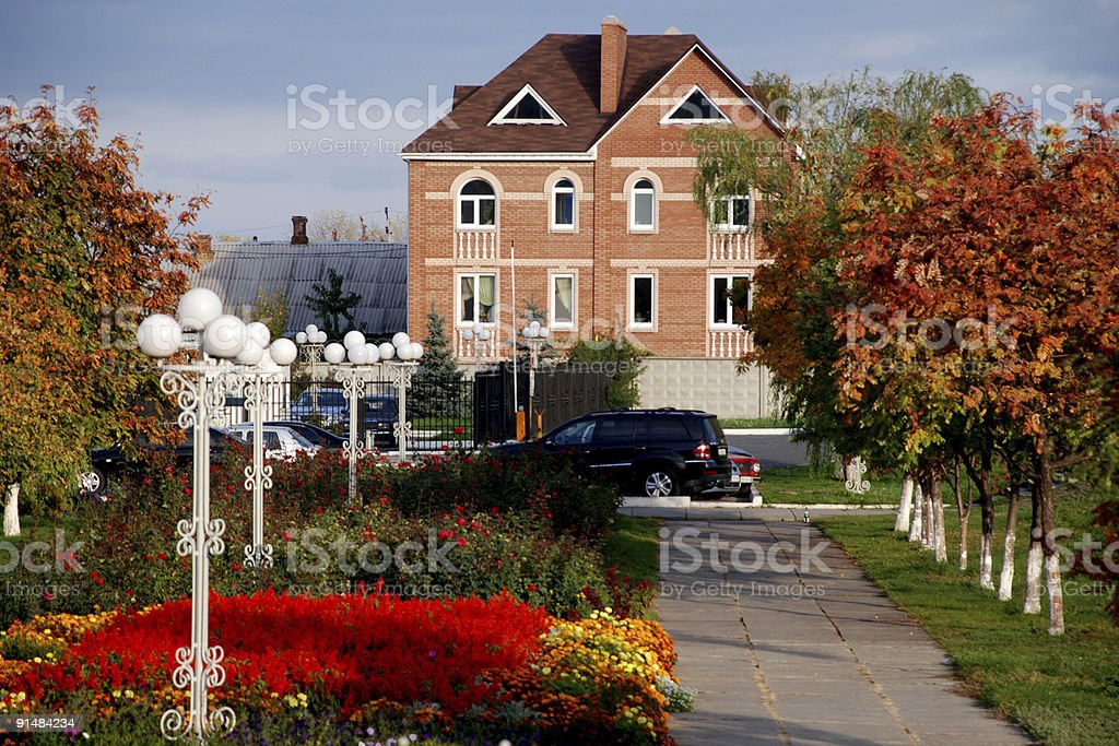 house in autumn royalty-free stock photo