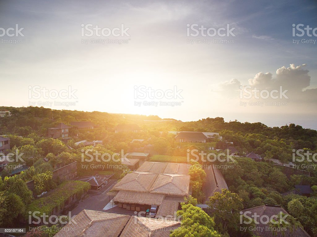 house in bali with sunrise stock photo