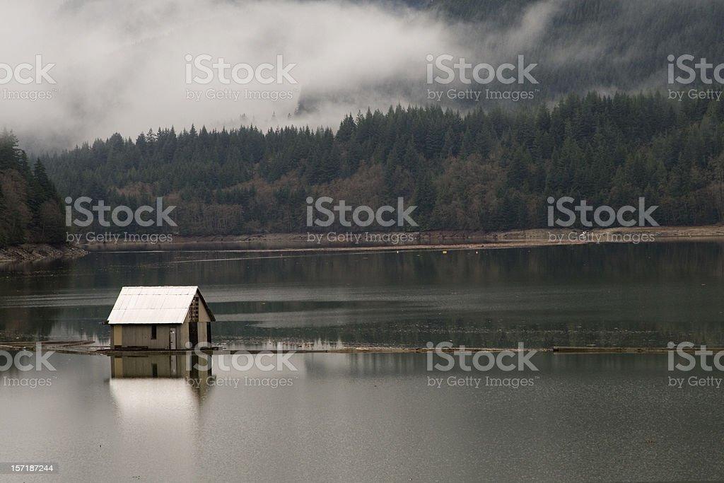 House in capilano lake stock photo
