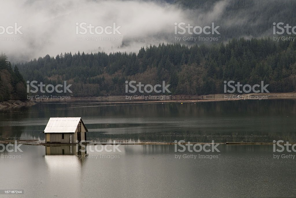 House in capilano lake stock photo