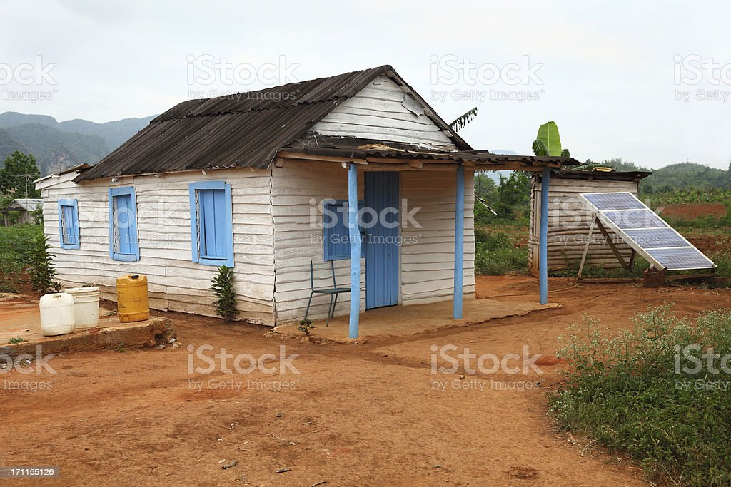 house in Cuba with solar panel stock photo